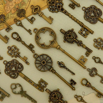 28 assorted sizes mixed media skeleton steampunk vintage old style replica key assortment wedding favor chart jewelry supply wholesale key