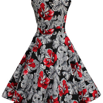 Floral Sleeveless Sheath A-line Tent Mini Dress