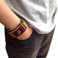 brown maroon leather bracelet for men / women hand-stitched nature look mens jewelry gift