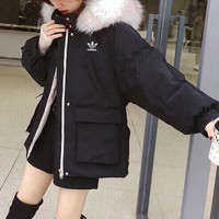 """Adidas"" Women Fashion Solid Color Long Sleeve Fur Collar Hoodie Cotton-padded Clothes Coat"