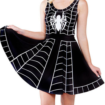 Black Spider Skater Dress S-4XL