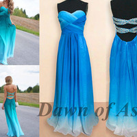 Long prom dress - blue prom dress / backless prom dress / long formal dress / blue formal dress / long evening dress / prom dresses 2014