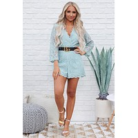 Cameras Flashing Lace Romper (Light Blue)