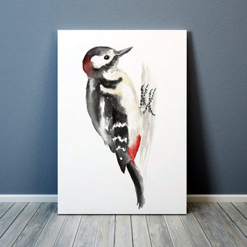 Spotted woodpecker print Nursery art Cute bird watercolor ACW111