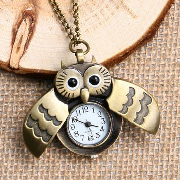 Retro Vintage Owl Pocket Watch