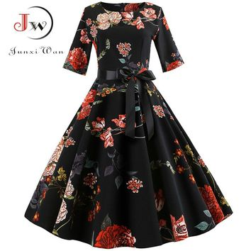 Floral Print Vintage Dress Women Long Sleeve Elegant Party Dress Winter Female Casual A-Line Dress Tunic Plus Size