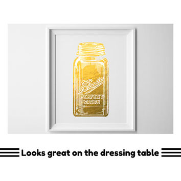 Gold foil mason jar print, gold and white wall art. Dressing table art, Girly bedroom decor wall art or cool dorm room decor