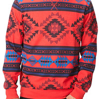 Southwestern Print Sweatshirt Red/Blue X-Small