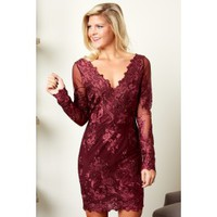 Midnight Hours Burgundy Lace Dress