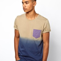 ASOS | ASOS T-Shirt With Dip Dye And Contrast Pocket at ASOS