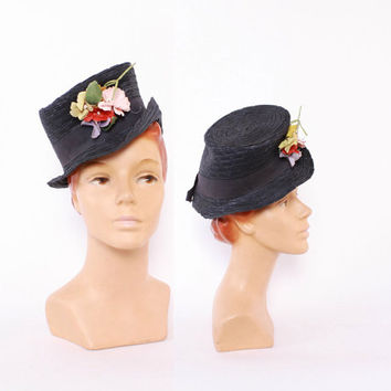 40s Navy STRAW Top HAT / 1940s WWII era Floral Toy Topper New York Creation