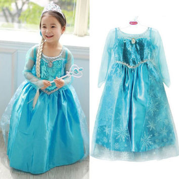 Girls Princess Anna Elsa Cosplay Costume Kid's Party Dress Dresses SZ7-8Y