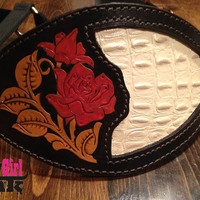 Hand-Tooled Rose Inlay Bronc Halter