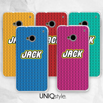 Lego case - Personalized custom name monogram phone case for HTC one m7, m8, htc one mini, one max - Nokia lumia 520,920,1520 - E88