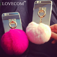 Luxury Mirror Soft TPU Phone Back Cover with Luxury Colorful Rabbit Fur Ball Pendant Phone Case Coque For iPhone 5S 6 6S 7 Plus