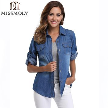 Miss Moly Womens Chambray Shirt Top Denim Shirts and Blouses Long Sleeve Snap Button Cotton Ladies Shirt Camisa Blusa Camisetas