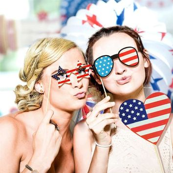 2018 Newest 25pcs 4th of July Photo Booth Props DIY Kit for Independence Day Party Decorations Shower Game Favor Gifts