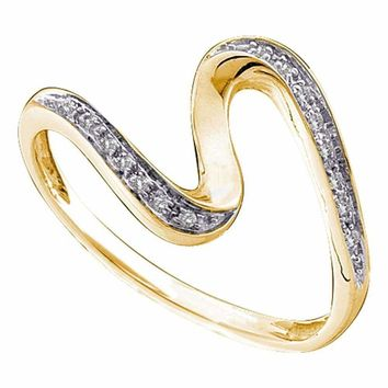 10kt Yellow Gold Women's Round Diamond S Curve Band Ring 1/20 Cttw - FREE Shipping (US/CAN)