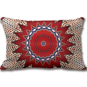 Tribal Southwest Santa Fe Pattern Red Throw Pillow Decorative Cushion Cover Pillow Case