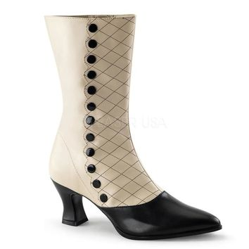 Pleaser Female 2 3/4 Inch Kitten Heel Two Tone Mid-Calf Boot VIC123