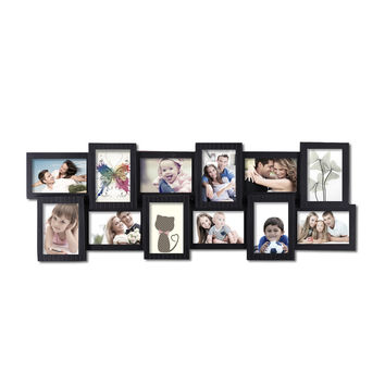 Decorative Black Polyresin Wall Hanging Collage Picture Photo Frame (12 Opening)