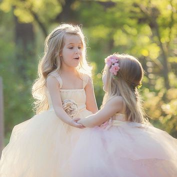 Ivory Pink Wedding Flower Girl Dress Kids Party Pageant Birthday Bridesmaid Flower Sashes Tulle Tutu Dress Princess Ball Gowns