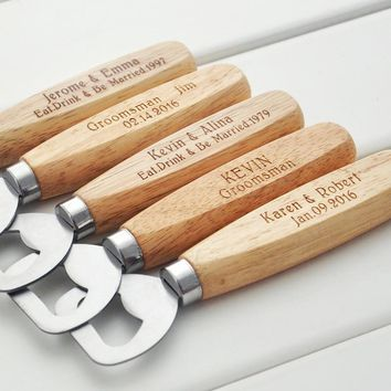 Personalized Wood Beer Bottle Opener - Engraved  Groomsmen Gift custom wedding gift