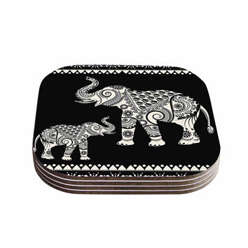 "Famenxt ""Ornamental Indian Elephant"" Black White Digital Coasters (Set of 4)"