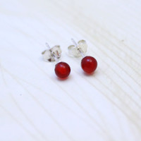 Tiny 4MM ball red natural Carnelian stud earrings, round bead post earrings, 925 sterling silver earrings - 1 pair, Valentine Day gift