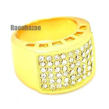 DCCKH7E MENS HIP HOP RAPPER CHUNKY ICED OUT RICK 14K GOLD PLATED RING SIZE 7 - 12 N009G