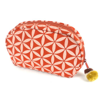 Flower of Life Makeup Bag Terra Cotta/Cream/Small