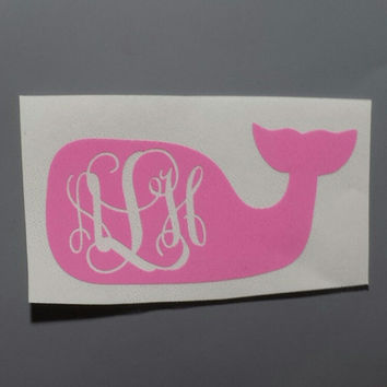 "5"" Monogram Whale Car Sticker Decal Vinyl Sticker"