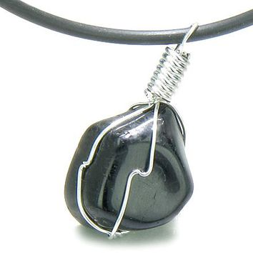 Brazilian Tumbled Black Tourmaline Lucky Charm Amulet Gemstone Caged in Wire Pendant Necklace