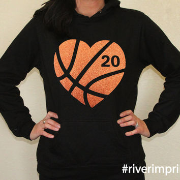 Hoodie BASKETBALL HEART sweatshirt, your choice of glitter colors AND number, lightweight fan wear- choose from 2 sweatshirt styles