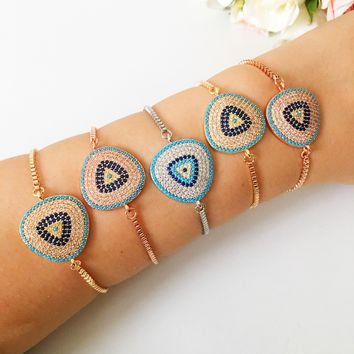 Evil eye bracelet, zirconia charm bracelet, silver rose gold bracelet, adjustable bracelet, blue evil eye jewelry, greek evil eye bracelet
