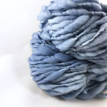 U.S. Raised Targhee Wool, Handspun Thick and Thin Super Bulky Yarn, Denim