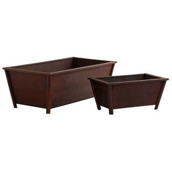 Rustic Rectangular Storage Bin Planters-Set of 2