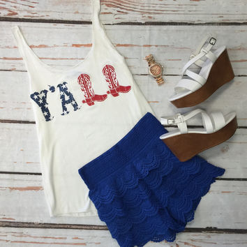 Y'all American Flag Tank: White