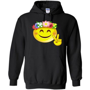 Hippie Flower Power Crown Smiley Pacea Sign Emoji T-Shirt t-shirt