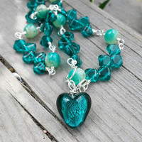 Emerald Green Necklace with handmade chain, Czech glass silver foil heart necklace, One of a kind chain necklace
