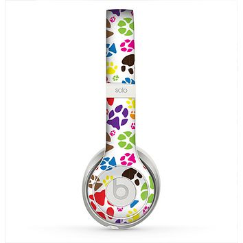 The Colorful Scattered Paw Prints Skin for the Beats by Dre Solo 2 Headphones