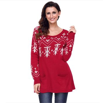 Ugly Long Christmas Sweater Dress Women Casual Jumper Oversize Womens Sweaters Christmas Pullover Winter Clothes Women P6C1166