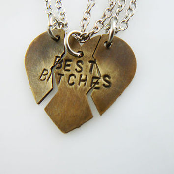 Best Bitches, Broken Heart Necklace, hand stamped, Broken Heart Set, Puzzle Pieces , Best Friends Jewelry, Mother Daughter