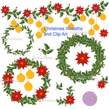 Christmas Wreaths and Clip arts,Instant Downloadable,Commercial,Flowers,Borders and Corners,Holiday Cheer,Seasonal,Scrap booking,Card-making