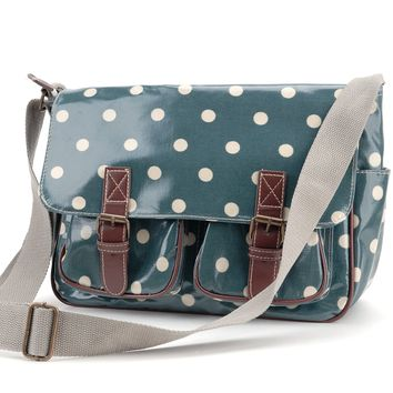Anladia Oilcloth Polka dots Star Messenger Cross Body Satchel Shoulder School Saddle Bag