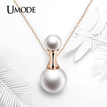 UMODE Perfume Bottle Shaped 12mm Shell Powder Synthetic Pearl Rose Gold Color Pendant Necklaces Jewelry for Women UN0220A