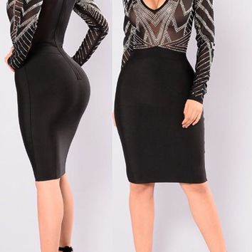 Black Patchwork Grenadine Diamond Heart-Shaped Neckline Bodycon Club Dress