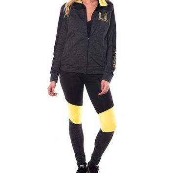 2 Pcs Zip-Up Jacket & Leggings - Charcoal/Yellow