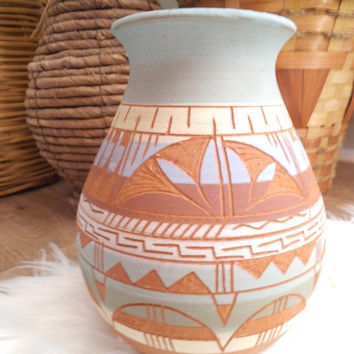 Terrific Mexican Polychrome Etched Pottery Vase by R Gonza
