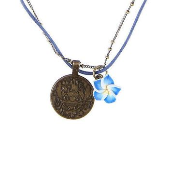 Licensed cool Disney Lilo & Stitch Pendant Chain & Cord Necklace W/ Blue Hibiscus Flower Charm